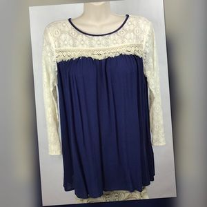 Andree Blue Boutique Lace Panel Babydoll Top Sz S